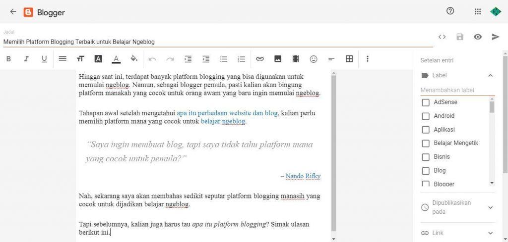 Platform Blogging Terbaik - Blogger