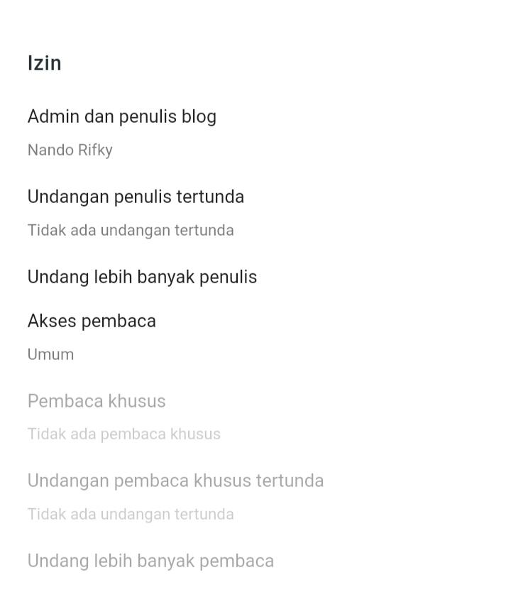 Cara Setting Blogger Izin