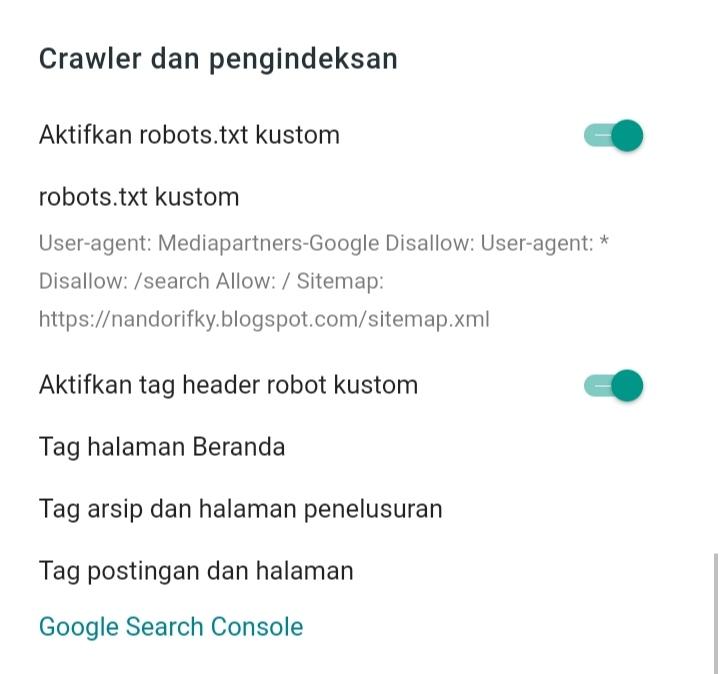 setting robot txt blogger