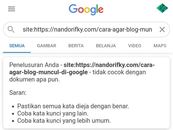 Cara blog cepar terindex google